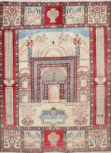 Vintage Geometric Area Rug Wool Hand Knotted Oriental Prayer Pictorial 4x6 Ivory