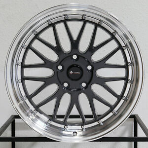 4 new 18 Vors Vr8 Wheels 18x8 18x9 5x120 35 35 Hyper Black Staggered Rims