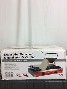 Avantco P84 Grooved Double Commercial Panini Sandwich Press Grill