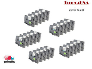 25 Pcs Great Quality Black On White Tape Compatible For Brother Tz 231 Tze 231