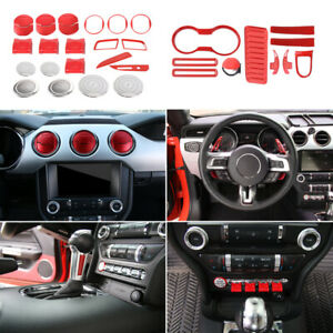 Red Interior Decoration Trim Kit Accessories For For Ford Mustang 2015 17 Abs