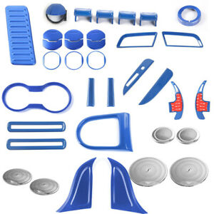 Blue Abs Full Interior Accessories Trim Cover Decor Fit Ford Mustang 15 17 36pcs