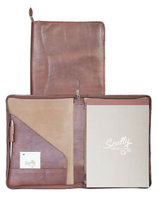 New Scully Soft Plonge Leather Sierra Collection Zip Letter Pad With Pen Brown