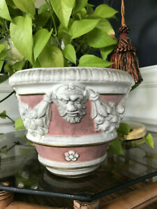 Vintage Mid Century Italian Modern Glazed Ceramic Pink And White Planter Pottery
