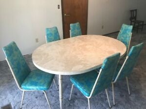 Mid Century Vintage Retro Dining Set With Six Chairs