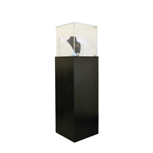 Glass Top Black Pedestal Exhibition Display Showcase With Led Lights And Lock