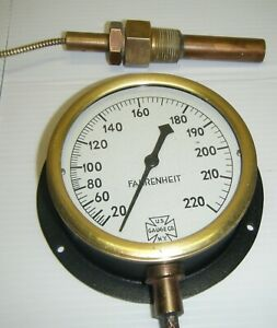 Vintage Steampunk U s Gauge Co Rare Fahrenheit Gauge 0 220 Degrees