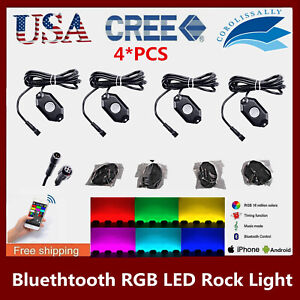 4x Led Rock Light Tail Lights Wireless Bluetooth Rgb Color Under Off Road Rzr Us