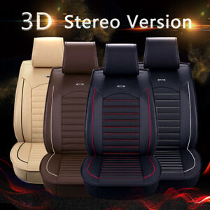 Universal Deluxe 5 seats Car Seat Cover Front Pu Leather Rear Cushion Full Set