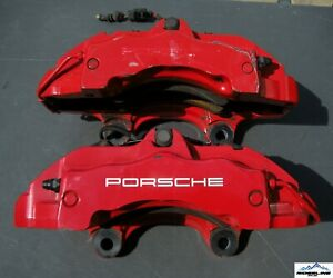 03 06 Porsche Cayenne Turbo 955 Brembo Front Brake Calipers 6 Piston Pair Oem