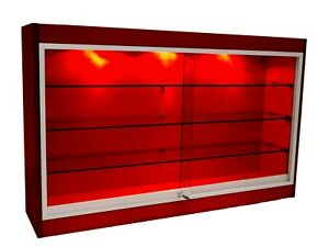 Cherry Wall Mounted Display Showcase With Glass Doors Shelves Lights