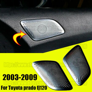 Stainless A Pillar Door Speaker Cover Trim 2pc For Toyota Prado Fj120 2003 2009
