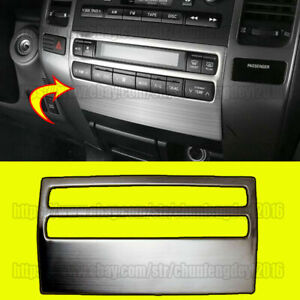 Stainless Center Console Cd Panel Frame Trim For Toyota Prado Fj120 2003 2009