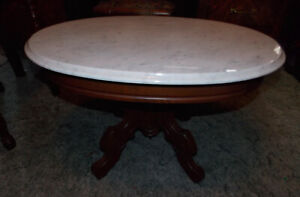 Solid Walnut Carved Victorian Marble Top Coffee Table Ct29