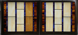 2 Large Antique Stained Glass Windows 31 25 X 34 3 Each Circa 1910