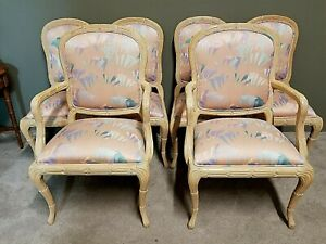 6 Harris Marcus Country French Provincial Trumpet Lily Upholstered Dining Chairs