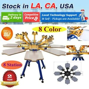 Us Stock 8 Color 8 Station Screen Printing Machine Press T shirt Equipment Diy