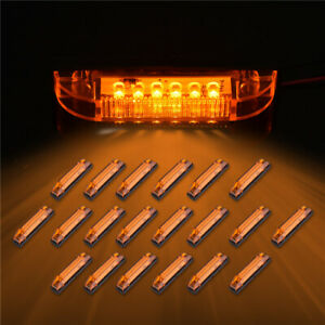 20x 4 Led Amber Utility Strip Light Marker 6led Rv Boats Lighting