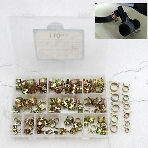 110pcs Spring Hose Clamp Assortment For Auto Fuel Line Water Pipe Air Hose Tube