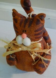 Vtg Primitive Stuffed Toy Cat Christmas Ornament Canvas Hand Made W Bow 5 Tall
