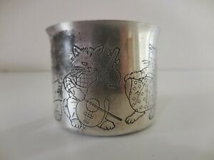 Antique Victorian Silver Plate Nursery Rhyme Baby Cup The Cat The Fiddle