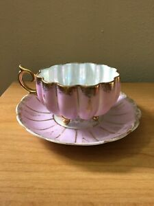 Antique Royal Sealy China Footed Tea Cup Saucer Pink Lusterware Japan