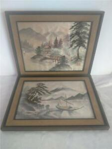 Lot Of 2 Beautiful Japanese Framed Landscape Embroidery Pictures