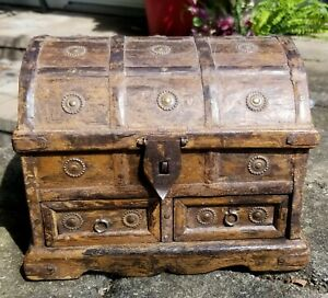 Antique European Spanish Sailors Chest Unique One Of A Kind Hand Crafted Box