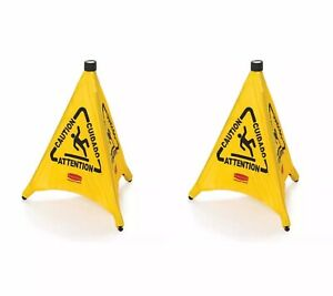 Lot 2 Rubbermaid 9s01 Fg9s0100 30 Pop up Safety Cone Wet Floor Symbol Caution