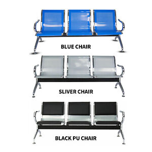 3 Seat Waiting Chair Airport Bench Office Salon Reception Room Chair New