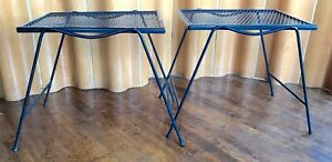 Pair Of Vintage Russell Woodard Nested Tables Wrought Iron Mid Century Modern