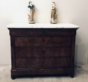 Antique French Louis Philippe Commode Chest Dresser Walnut Marble Mid 19th Cent