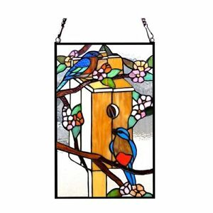 Tiffany Style Stained Glass Window Panel Bird House Birds Last One This Price