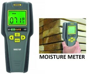 General Tools Mmd7np Moisture Meter Pinless Digital Lcd With Tricolor Bar Gra