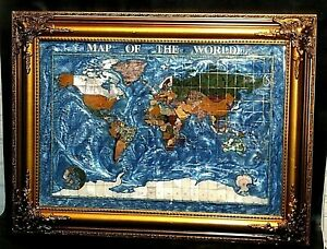 Gemstone Map Of The World In Semi Precious Stones Framed 31 X 23