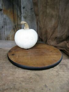 Antique Round Wood Bread Board Black Milk Paint Free Shipping