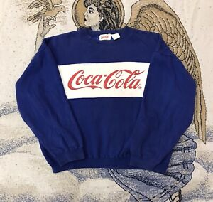Vintage 90s Coca Cola Sweater Cursive Spell Out Blue White Sweater Size Medium