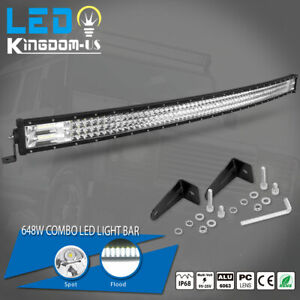Curved Tri Rows 52 Inch Led Work Light Bar Flood Spot Combo Driving Offroad Suv