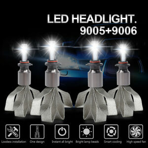 9005 9006 Fanless Led Headlight Kit Bulb High low Fog Lamp White 6000k Lumileds