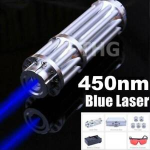 450nm Powerful Burning Blue Laser Torch Focusable Sight Pointers Flashlight
