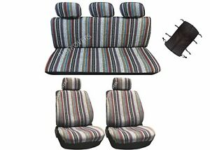 10 Pc Universal Baja Inca Saddle Mexican Blanket Seat Cover Combo