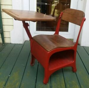 Vintage Childs Student Metal Elementary School Desk Chair Mid Century