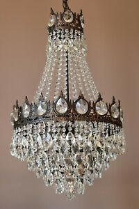 Shabby Chic Vintage Crystal Chandelier Antique Lighting Lamp For Home Decor