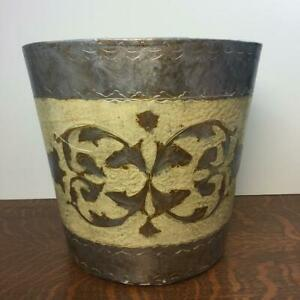 Vintage Florentia Toleware Italian Waste Basket Trash Can Hand Made In Italy