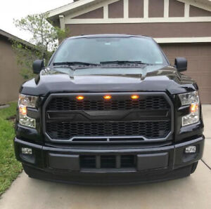 Monster Upper Grill Fit For Ford F 150 2015 2016 2017 W 3 Head Led Lights