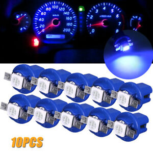 10x T5 B8 5d 5050 Smd Led Blue Dash Gauge Instrument Light Bulbs Car Accessories