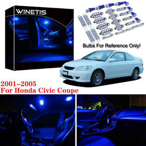 7x Bulb Car Led Interior Light Package Kit For 2005 Honda Civic Coupe Ultra Blue