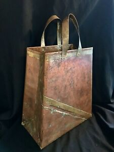 Vintage Art Deco Style Hand Made Copper Brass Bag Planter 20 1 2in Heigh