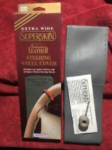 Vintage Genuine Leather Steering Wheel Cover Made In Usa 1995 Gray Extra Wide