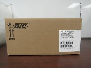 Bic Round Stic Ballpoint Pens Medium Point Case Of 36 12 To A Box Red Ink 55d